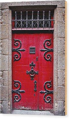 Red Medieval Door Wood Print by Elena Elisseeva