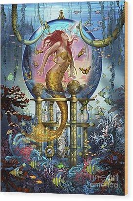 Red Mermaid Wood Print by Ciro Marchetti
