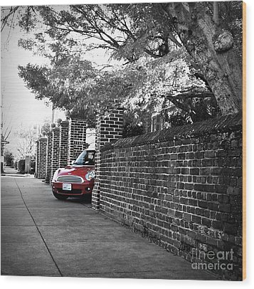 Wood Print featuring the photograph Red Mini Cooper- The Debut by Nancy Dole McGuigan