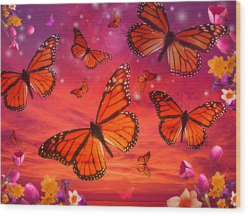 Red Monarch Sunrise Wood Print by Alixandra Mullins