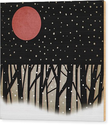 Red Moon And Snow Wood Print by Carol Leigh