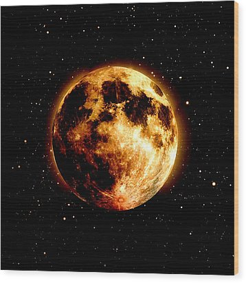 Red Moon Wood Print