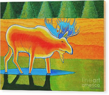 Wood Print featuring the painting Red Moose by Joseph J Stevens