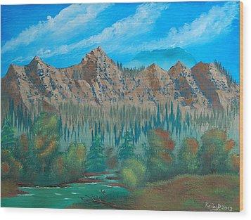 Red Mountain Creek Wood Print by Peter Kallai