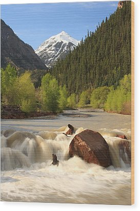 Wood Print featuring the photograph Red Mountain Snowmelt by Scott Rackers