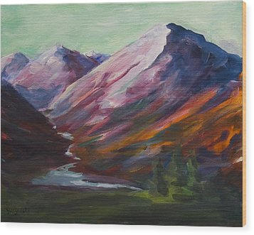 Wood Print featuring the painting Red Mountain Surreal Mountain Lanscape by Yulia Kazansky