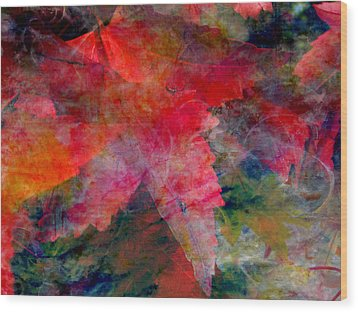 Wood Print featuring the painting Red Nature Abstract Autumn Leaf by John Fish