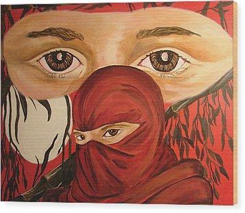 Red Ninja Wood Print by Lorinda Fore