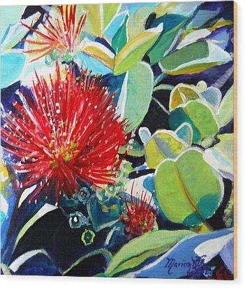 Red Ohia Lehua Flower Wood Print