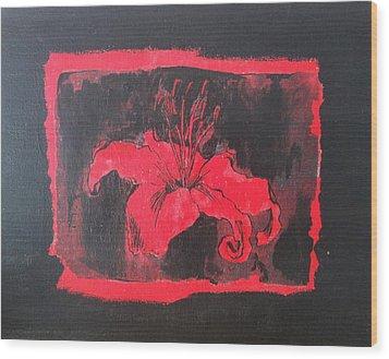 Red On Black Wood Print by Megan Washington