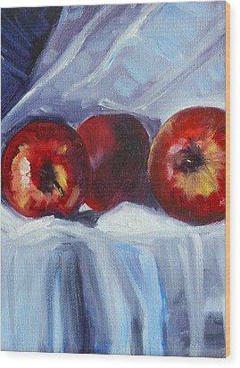 Red On White Wood Print by Nancy Merkle