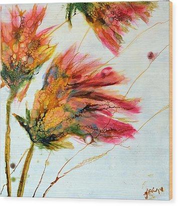 Red Orange Flowers Wood Print