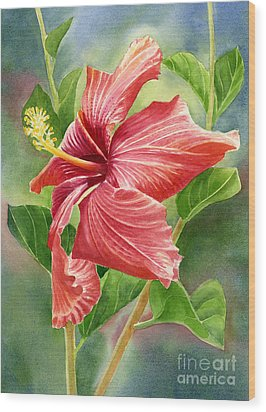 Red Orange Hibiscus With Background Wood Print by Sharon Freeman