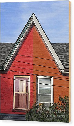 Wood Print featuring the photograph Red-orange House by Nina Silver