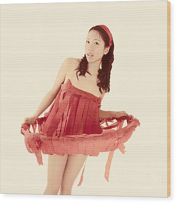 Red Paper Dress Wood Print