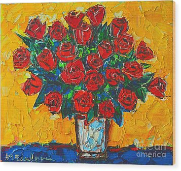 Red Passion Roses Wood Print by Ana Maria Edulescu