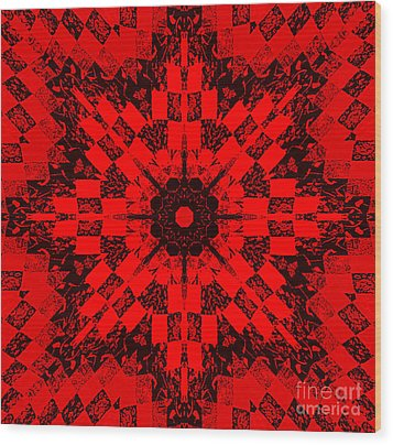 Red Patchwork Art Wood Print by Barbara Griffin