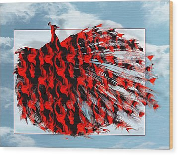 Red Peacock Wood Print by Yvon van der Wijk