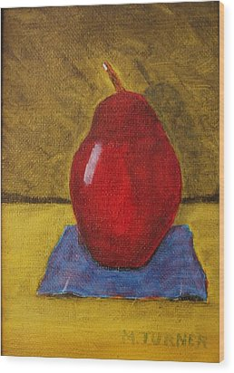 Wood Print featuring the painting Red Pear by Melvin Turner