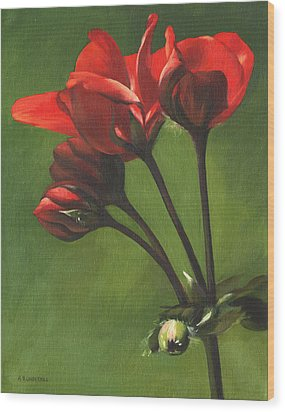 Wood Print featuring the painting Red Pelargonium by Alecia Underhill