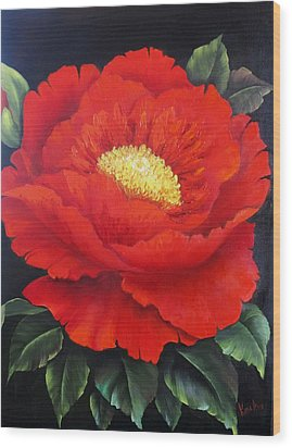 Red Peony Wood Print by Katia Aho