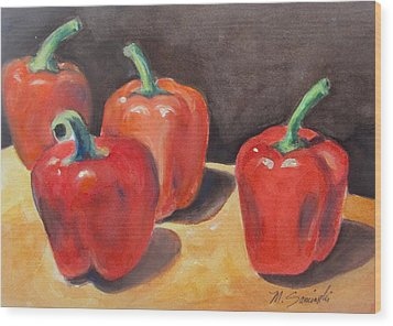 Red Peppers Wood Print by Melinda Saminski