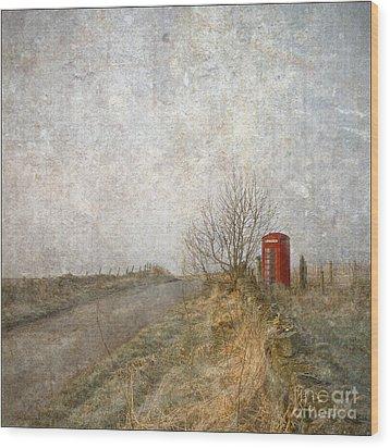 Red Phone Box Wood Print by Liz  Alderdice