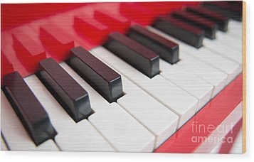 Red Piano Wood Print by Yew Kwang
