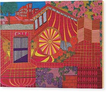 Red Pinwheel Wood Print