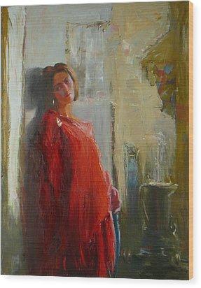 Red Poncho Wood Print by Irena  Jablonski
