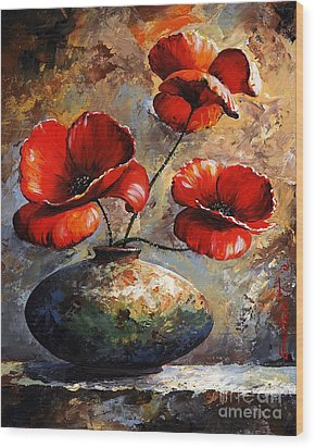 Red Poppies 02 Wood Print