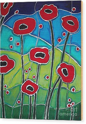 Red Poppies 1 Wood Print by Cynthia Snyder