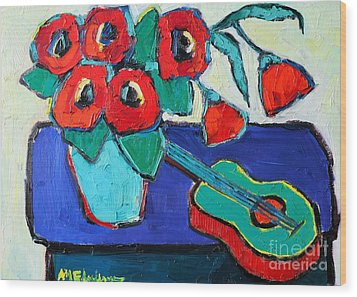 Red Poppies And Guitar  Wood Print by Ana Maria Edulescu