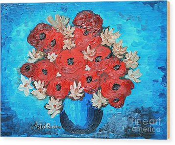 Red Poppies And White Daisies Wood Print by Ramona Matei