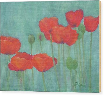 Red Poppies Colorful Poppy Flowers Original Art Floral Garden  Wood Print