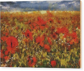 Wood Print featuring the painting Red Poppies by Georgi Dimitrov