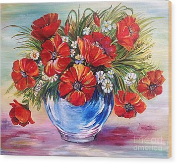 Red Poppies In Blue Vase Wood Print