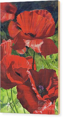 Red Poppies Wood Print by Suzanne Schaefer