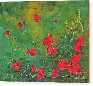 Wood Print featuring the painting Red Poppies by Teresa Wegrzyn