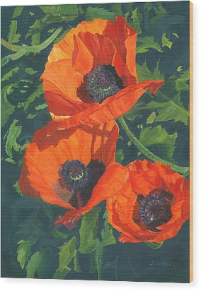 Wood Print featuring the painting Red Poppies Three by Lynne Reichhart