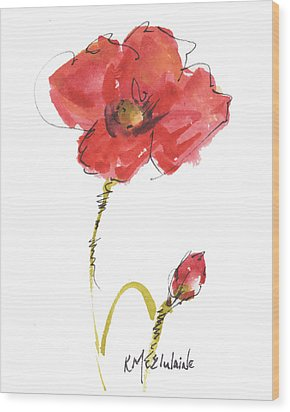 Red Poppy And Bud Wood Print