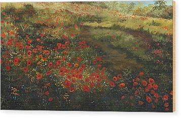 Red Poppy Field Wood Print by Cecilia Brendel