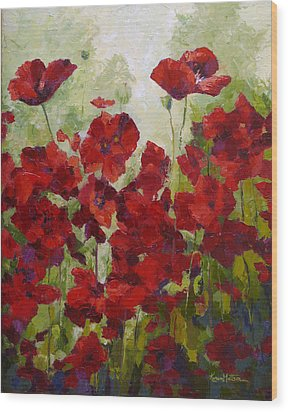 Red Poppy Field Wood Print