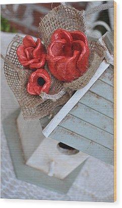 Red Poppy Inn Wood Print by Amanda  Sanford