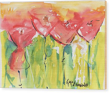 Red Poppy Party Wood Print