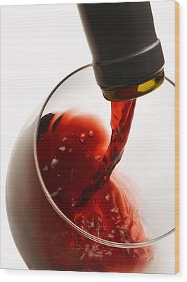Red Pour Wood Print by Dennis James