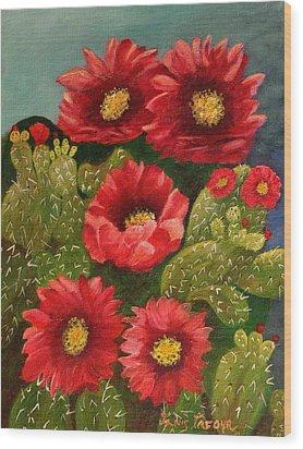 Red Prickley Pear Cactus Flower Wood Print by Janis  Tafoya