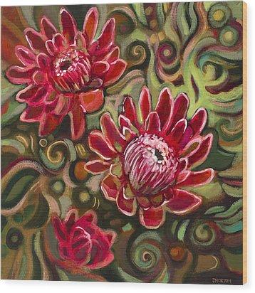 Red Proteas Wood Print by Jen Norton