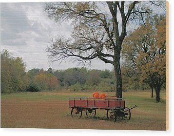 Red Pumpkin Wagon Wood Print by Paulette Maffucci