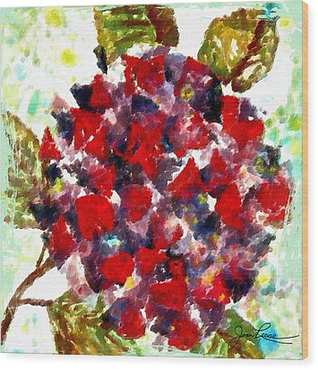 Wood Print featuring the painting Red Purple Flower by Joan Reese